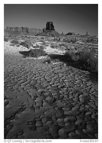 Clay pattern on floor and buttes in winter. Monument Valley Tribal Park, Navajo Nation, Arizona and Utah, USA (black and white)