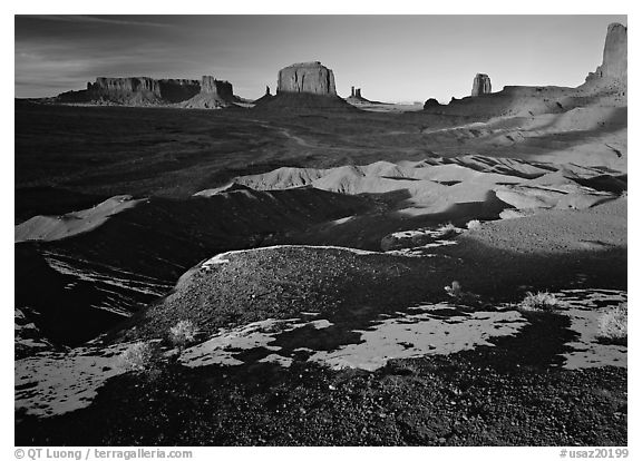 View from Ford point, late afternoon. Monument Valley Tribal Park, Navajo Nation, Arizona and Utah, USA (black and white)