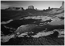 View from Ford point, late afternoon. Monument Valley Tribal Park, Navajo Nation, Arizona and Utah, USA ( black and white)