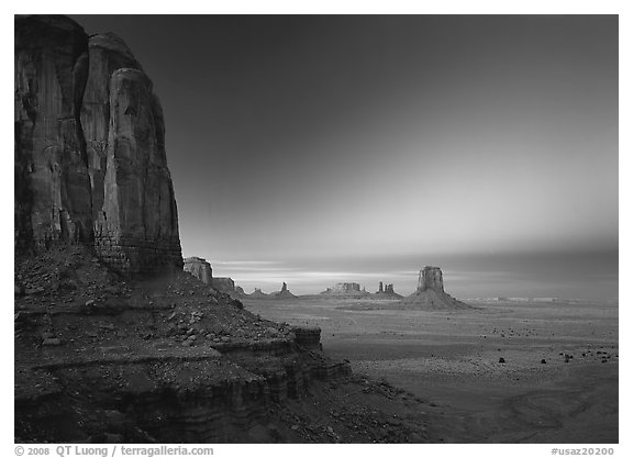 View from North Window at dusk. Monument Valley Tribal Park, Navajo Nation, Arizona and Utah, USA (black and white)