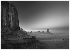 View from North Window at dusk. Monument Valley Tribal Park, Navajo Nation, Arizona and Utah, USA ( black and white)