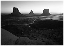 Mittens, sunrise. Monument Valley Tribal Park, Navajo Nation, Arizona and Utah, USA ( black and white)