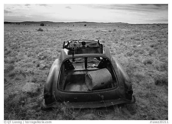 Car wreck. Arizona, USA (black and white)