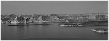 Dusk scenery with mesas and Lake Powell, Glen Canyon National Recreation Area, Arizona. USA (Panoramic black and white)
