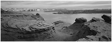 Lake Powell scenery with swirls in foreground, Glen Canyon National Recreation Area, Arizona. USA (Panoramic black and white)