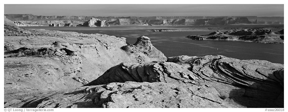 Lake Powell view with sandstone swirls, Glen Canyon National Recreation Area, Arizona. USA (black and white)