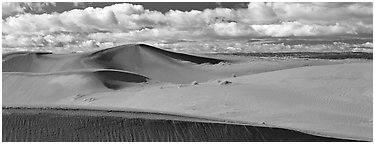 Sand dunes and clouds. Canyon de Chelly  National Monument, Arizona, USA (Panoramic black and white)