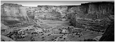 Canyon scenery at dusk. Canyon de Chelly  National Monument, Arizona, USA (Panoramic black and white)