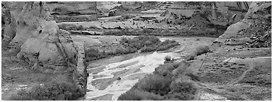 Canyon landscape with cultivated fields. Canyon de Chelly  National Monument, Arizona, USA (Panoramic black and white)