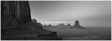 Monument Valley scenery at dusk. Monument Valley Tribal Park, Navajo Nation, Arizona and Utah, USA (Panoramic black and white)