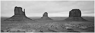 Monument Valley landscape and mittens. Monument Valley Tribal Park, Navajo Nation, Arizona and Utah, USA (Panoramic black and white)