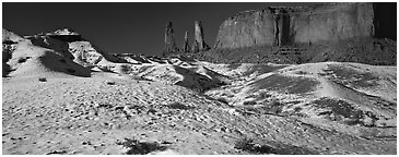 Monument Valley landscape with snow. Monument Valley Tribal Park, Navajo Nation, Arizona and Utah, USA (Panoramic black and white)