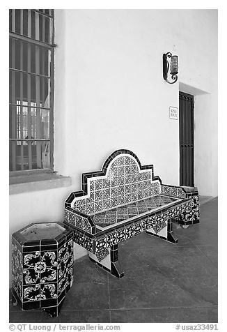 Ceramic bench in the courtyard, San Xavier del Bac Mission. Tucson, Arizona, USA (black and white)