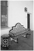 Ceramic bench in the courtyard, San Xavier del Bac Mission. Tucson, Arizona, USA ( black and white)