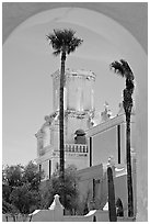 Arch and North Court, San Xavier del Bac Mission (the White Dove of the Desert). Tucson, Arizona, USA (black and white)