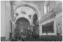 Chapel interior, San Xavier del Bac Mission. Tucson, Arizona, USA ( black and white)