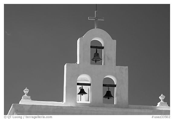 Bell tower, San Xavier del Bac Mission. Tucson, Arizona, USA (black and white)