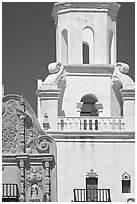 Facade detail and tower, San Xavier del Bac Mission. Tucson, Arizona, USA (black and white)