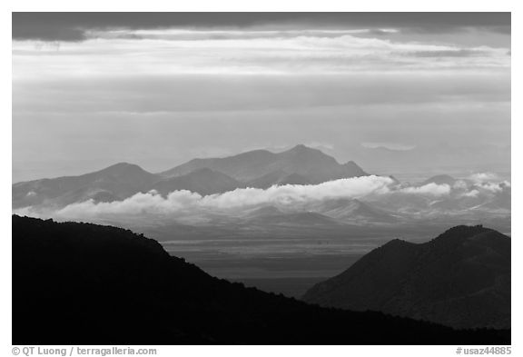 Desert mountains with storm clouds. Chiricahua National Monument, Arizona, USA (black and white)
