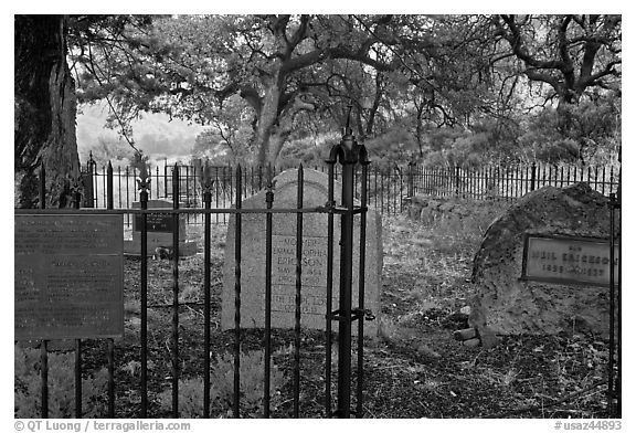 Erikson Cemetery. Chiricahua National Monument, Arizona, USA (black and white)