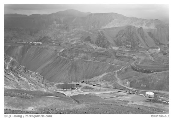 Copper mining operation, Morenci. Arizona, USA (black and white)
