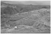 Open pit copper mining, Morenci. Arizona, USA (black and white)