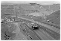 Mining truck carrying rocks, Morenci. Arizona, USA (black and white)