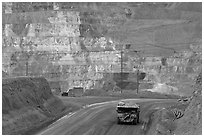 Truck and copper mine terraces, Morenci. Arizona, USA (black and white)