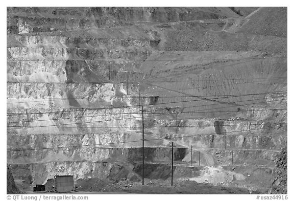 Open pit copper mine terraces, Morenci. Arizona, USA (black and white)