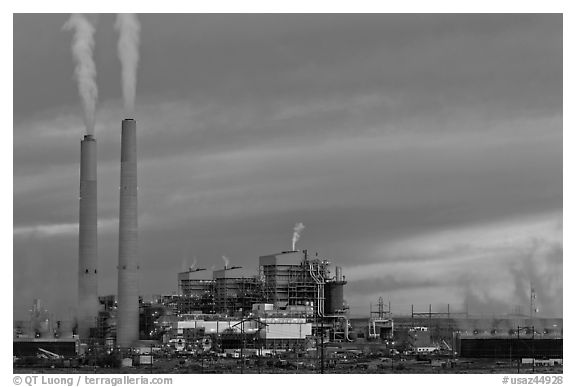 Coal fired generating station at dusk, near Holbrook. Arizona, USA