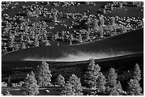 Steam rising from cinder landscape, Sunset Crater Volcano National Monument. Arizona, USA (black and white)