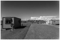 Mobile buildings at entrance. Four Corners Monument, Arizona, USA ( black and white)