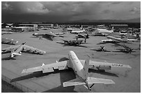 Aerial view of Pima Air and space museum. Tucson, Arizona, USA ( black and white)