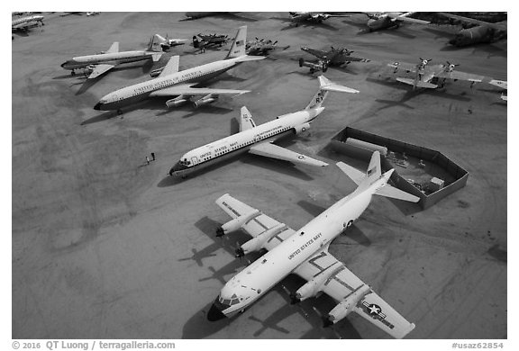 Aerial view of retired aircraft, Pima Air and space museum. Tucson, Arizona, USA (black and white)
