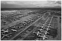 Aerial view of rows of retired military aircraft. Tucson, Arizona, USA ( black and white)