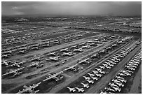 Aerial view of retired military aircraft. Tucson, Arizona, USA ( black and white)
