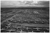 Aerial view of vast field of retired military aircraft. Tucson, Arizona, USA ( black and white)
