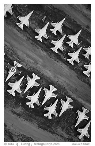 Aerial view of fighter jets. Tucson, Arizona, USA (black and white)