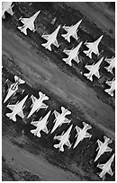 Aerial view of fighter jets. Tucson, Arizona, USA ( black and white)