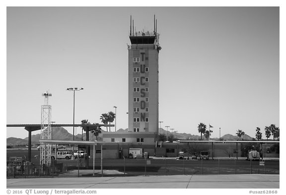 Control tower, Tucson Airport. Tucson, Arizona, USA (black and white)