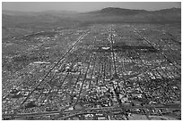 Aerial view of downtown Tucson and street grid. Tucson, Arizona, USA ( black and white)
