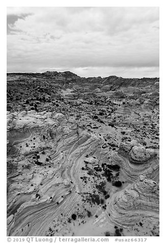 Aerial view of Coyotte Buttes South. Vermilion Cliffs National Monument, Arizona, USA (black and white)