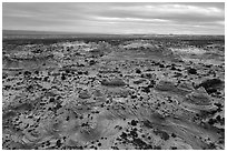 Aerial view of Teepees, Coyotte Buttes South. Vermilion Cliffs National Monument, Arizona, USA ( black and white)