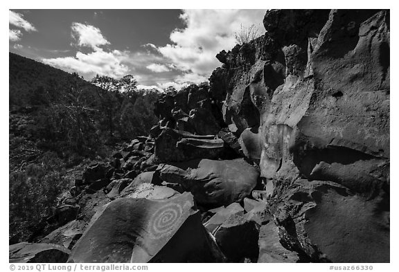 Nampaweap Petroglyph Site. Parashant National Monument, Arizona, USA (black and white)