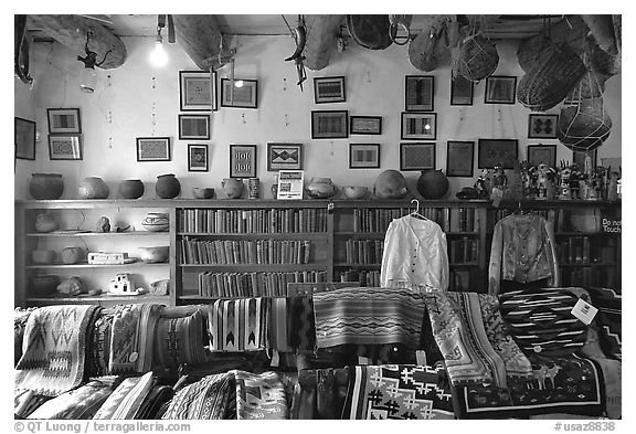 Navajo rugs and designs in the Hubbel rug room. Hubbell Trading Post National Historical Site, Arizona, USA (black and white)