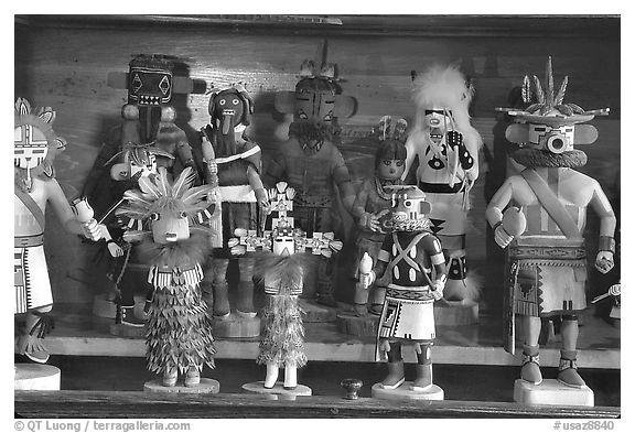 Hopi Kachina figures. Hubbell Trading Post National Historical Site, Arizona, USA (black and white)