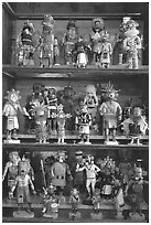 Ritual Hopi Kachina figures. Hubbell Trading Post National Historical Site, Arizona, USA ( black and white)