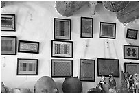 Framed paintings of Navajo rug designs commissioned by Hubbell. Hubbell Trading Post National Historical Site, Arizona, USA (black and white)