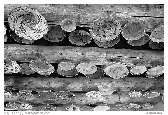 Native Indians baskets hanging from ceiling. Hubbell Trading Post National Historical Site, Arizona, USA (black and white)