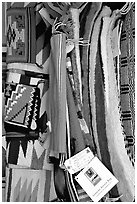 Navajo blankets and rugs for sale. Hubbell Trading Post National Historical Site, Arizona, USA ( black and white)